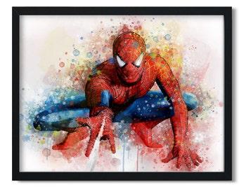 Spiderman print avengers wall art spider printables Marvel Nursery Bedroom spiderman gifts Spiderman poster, watercolor spider man superhero