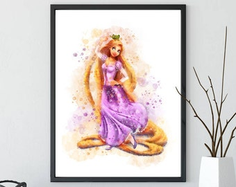 Disney Rapunzel Tangled Watercolor Poster Print - Wall Decor - Watercolor Painting - Watercolor Art - Kids Decor- Nursery Decor