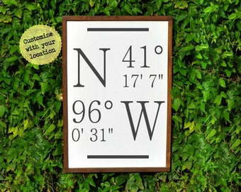 Rustic Home Coordinates Sign, Christmas Gift for Mom Christmas Gifts, Housewarming gift personalized Gift, wood sign latitude longitude Sign