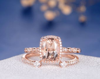 Morganite Wedding Ring Set Cushion Cut Engagement Ring Rose Gold Diamond Open Wedding Eternity Band Halo Antique 2pcs Anniversary Promise