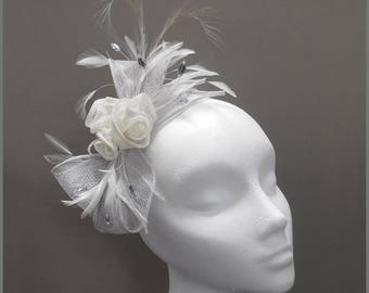 Made to order, silver grey and white floral fascinator, headband, wedding hair piece, sinamay, side headpiece, formal event, feather, rose
