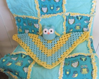 Owl lovey and Owl Rag Quilt for baby