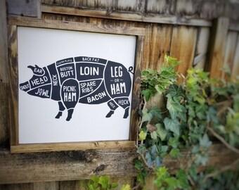 Butchers Chart, Butchers Diagram, Butchers Guide, Diagram Art, Farmhouse Pig Decor, Pig Sign, Pig Diagram, Farmhouse Decor, Rustic Sign