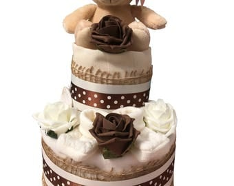 2 Tier Cream Neutral Nappy Cake