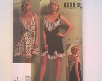Anna Sui Vogue Designer Pattern 1104 -  Sleeveless Party Dress with Flounce -- Sizes 6, 8, 10, 12-  Uncut