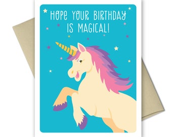 Birthday card - Kids birthday cards - Unicorn Birthday Card - Girl Birthday - Magical Birthday card