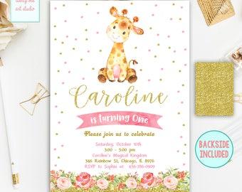Giraffe Birthday Invitation, Girl Birthday Invitation, Safari Birthday Invite, Pink and Gold Birthday Invitation, Printable Digital File
