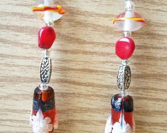 Unique, Hypoallergenic, Red, black, silver dangle earrings