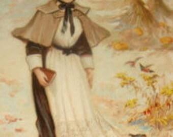 Vintage Thanksgiving Postcard (Pilgrim Girl)