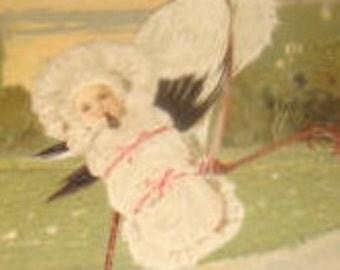 Nice Vintage Embossed Postcard PBF, Stork and a baby #1