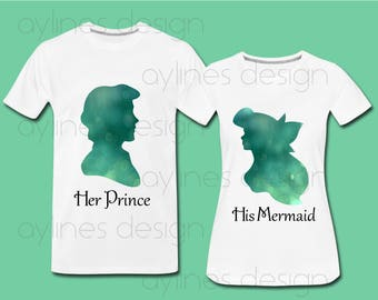 Little Mermaid His and Hers Disney Print  for Couple, Wedding Shirts with Princess Ariel and Prince Eric. Printable PDF PNG JPG by aylines