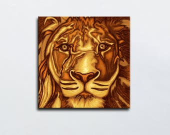 Portrait of Lion - painting lion print on canvas - lion table - square table - sign of Zodiac - leo sign - safari art decoration