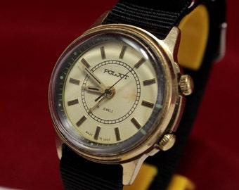 Vintage Military POLJOT SIGNAL Mechanikal Alarm Soviet Era Watch USSR cccp Gold Plate