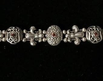 Sterling Silver Slide Bracelet With Garnets