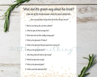 Bridal Shower Game Download // How well does the groom know his bride game // Digital Download // Printable