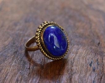 45% off brass ring,blue  stone adjustable brass jewellery ring