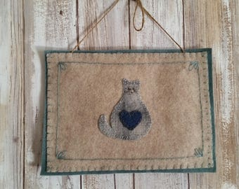 Cat Wool Appliqued Fiber Art | Homespun Cat, let's call her Rachael! | Blue Wool