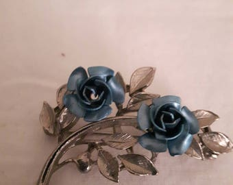 VINTAGE MARKED Silver with Blue Flowers Brooch - 1970s