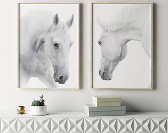 Merveilleux Horses Prints, White Horse Print, Horses Set Of 2, Wild Horses, Horses