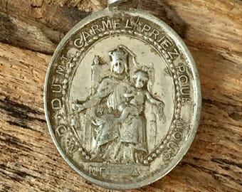 French catholic vintage medal VIRGO CARMEL, religious item  Sacred Heart of Jesus