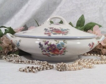 "O. P. Co. Syracuse China ""Old Haarlem"" Pattern of Floral Sprays and Blue Trim on White China"