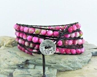 Pink Leather Wrap Bracelet, Boho Wrap Bracelet, Pink Jasper Bracelet, Leather Bracelet, Beaded Wrap Bracelet, Pink Wrap Bracelet, Gift