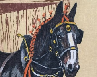 Richlin souvenir Irish linen and cotton tea towel Horse themed Clydesdale portrait Souvenir tea towel Collectibles