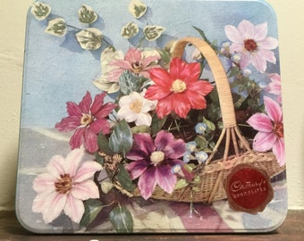 60s Cadbury chocolates hinged tin Flower basket design Made in Australia Vintage tins Collectibles