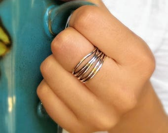 Sterling silver wrap ring - wide silver ring - large silver ring - wraparound ring - thick silver ring - modern ring - gift for her