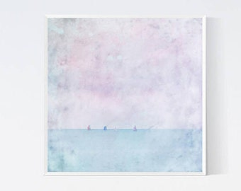 Pastel sea prints art Ocean nautical sailing style wall hanging Pink blue beach landscape interior decor accent Coastal cottage square print