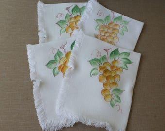 Hand Painted Grape Napkins Set of 4