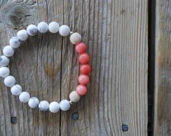 Essential oil diffuser bracelet yoga bracelet mala beads meditation bracelet  yoga jewelry coral quartz bracelet howlite lava beads rose
