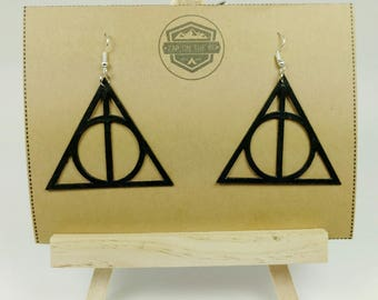 Harry Potter Deathly Hallows Earrings | Harry Potter Jewelry | Geeky Earrings | Nerdy Earrings | Geek Gift | Nerd Gift