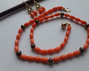 Real Coral Necklace and Earring, Natural Coral Set, Genuine Coral, Orange Coral