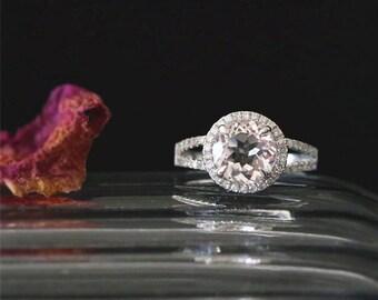 VS 8mm Round Cut Morganite Ring Diamonds Halo Ring Half Eternity Diamond Ring Stackable Bridal Ring 14K White Gold Morganite Engagement Ring