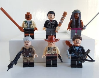 Walking Dead Minifigures or Keyrings Set Lego Compatible Rick Grimes, Carol, Daryl, Negan, Morgan, Michonne Birthday Gift Fathers Day
