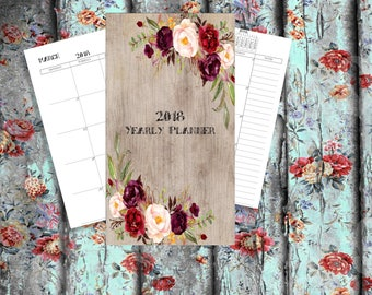2018 Yearly Planner Planner bundle Printable 2018 Monthly Planner 2018 Weekly Planner, 2018 Agenda, Printable Planner 2018, 2018 Planner, A4