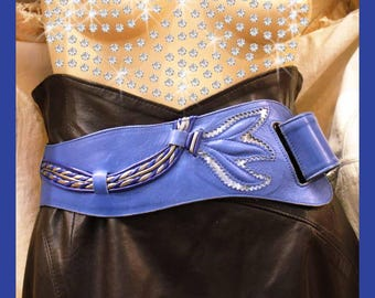 Blue leather belt/vintage 1980's/100% leather/good quality leather