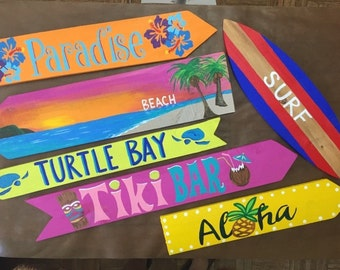 Any Custom Set of 9 Destination signs, Custom Directional sign, Tropical theme signs, Beach house sign, tiki bar sign, mile marker sign