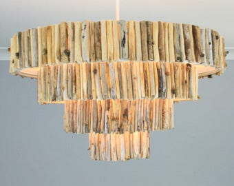 Driftwood Ceiling Lampshade - Four Tier Driftwood Chandelier - Large 43cm Diameter - Weathered Wood Lamp Shade - UK Handmade - Twoodle Co