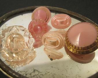 X 6 Vintage pink color Czech glass buttons