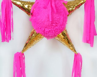 Gold/pink star Piñata with 5 tips