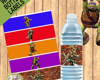 Ninja Turtles Custom Water Bottle Labels, Ninja Turtles Custom Labels, Ninja Turtles Custom Water Bottle Favor,PRINTED & SHIPPED or DIGITAL
