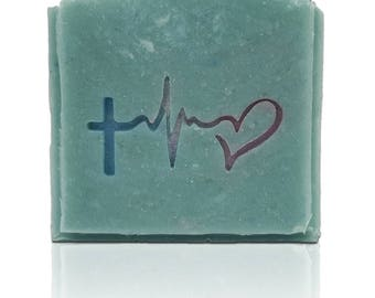 "Hope Faith Love Soap Stamp - Penetration 1.97"" x 1.03"" (50mm x 26mm) - Available with or without handle (no functional need for handle)"