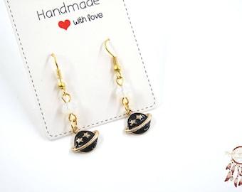 Galaxy earrings   space earrings, planet earrings, minimalist earrings, gift for her, outer space, gift, galaxy, cosmic, solar system, space