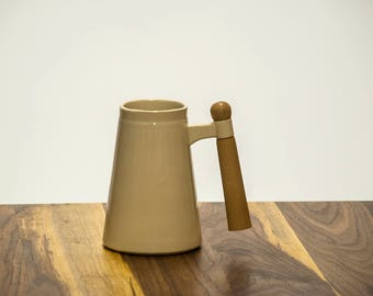 Ceramic Beer Mug with Maple Wood Handle