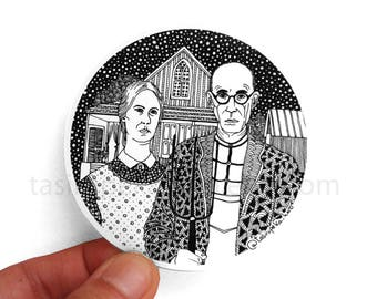 "15%OFF with code ""WINTER"" American Gothic. Grant Wood. Art. Sticker. Famous Painting. Adhesive. Zentangle. Car. Macbook. Black and white. ©"