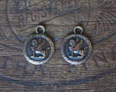 PAIR Vintage French Brass Stamping/Antique Style/Sphinx/Griffin/Harpy/Winged Creature/Button/French Findings/2 Pieces