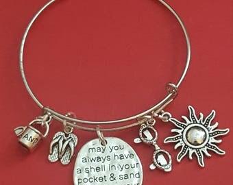 Silver Beach Themed Charm Bracelet
