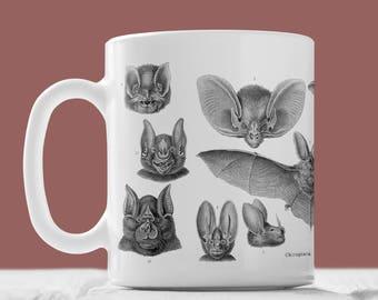 Vampire Bat Illustrated Mug - Bat Mug, Bat Illustration, Bat Print, Bat Art, Animal Mug, Vintage Style Art, Animal Art, Bat Gift, Nature